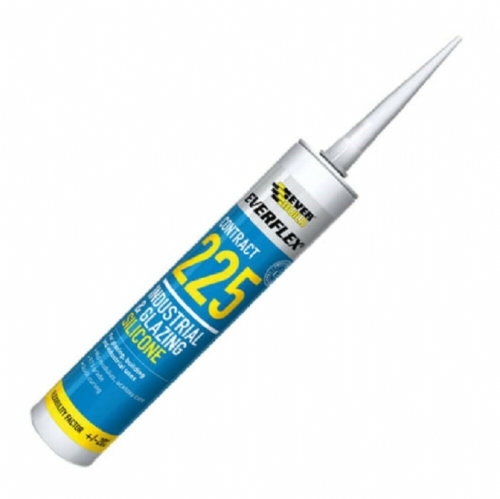 Everbuild 225STEEL 225 Industrial & Glazing Silicone Sealant Brushed Steel 295ml